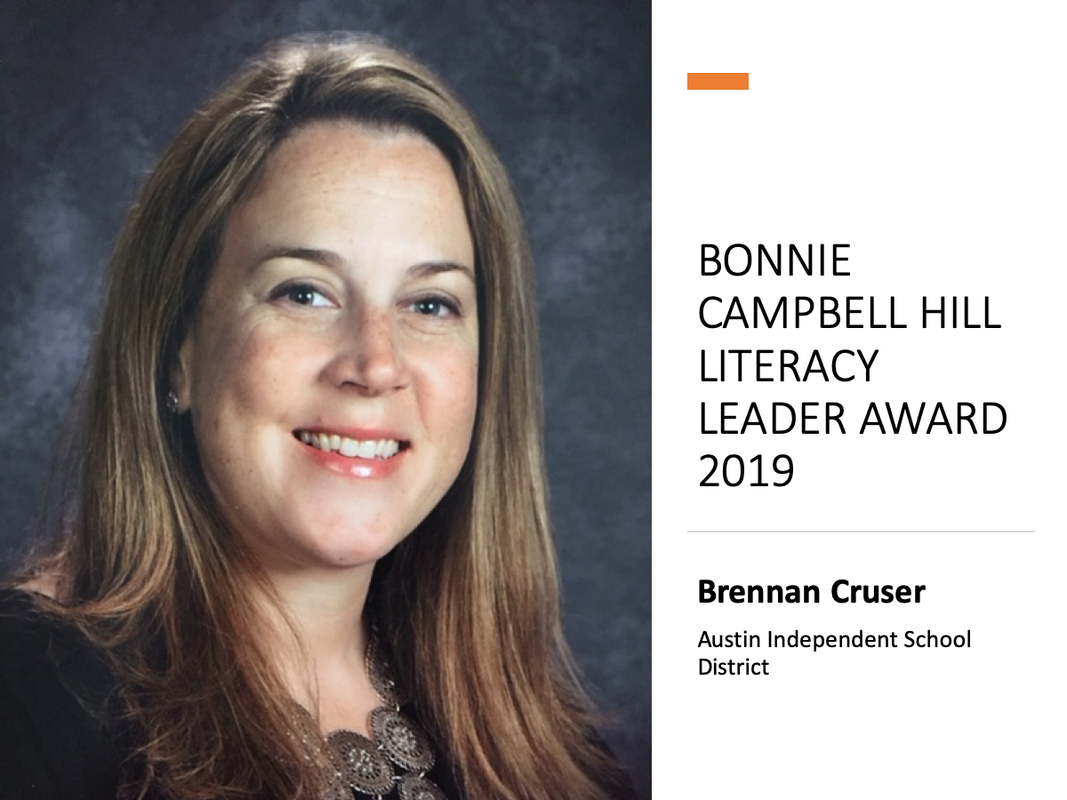 Brennan Cruser, Bonnie Campbell Hill Literacy Leader Award 2019
